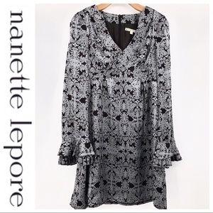 💕SALE Nanette Lepore Brown Silk Long Sleeve Dress
